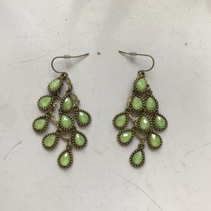 Green drop chandelier earrings